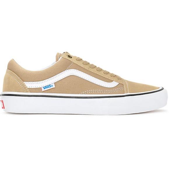 5bd0633c6f Vans Old Skool Pro Khaki   White Skate Shoes Men s.  M 5bbbb79404e33d71b44ac55a